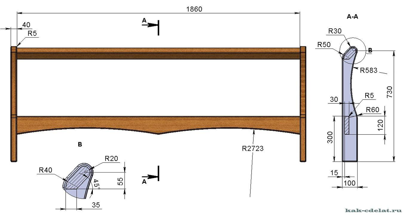 348Кровать двуспальная из мебельных щитов