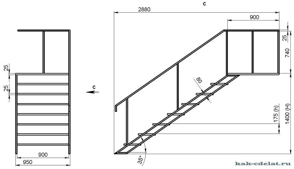 Металлические лестницы своими руками чертежи 12