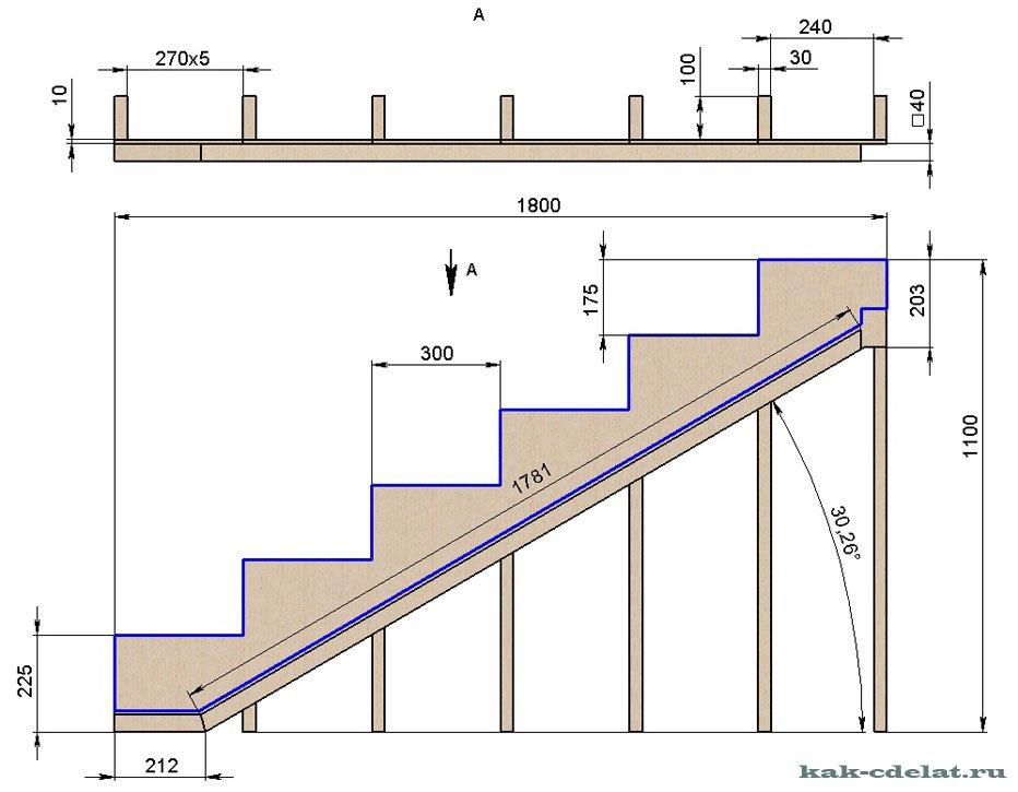 Чертежи деревянных лестниц своими руками для деревянного дома 66